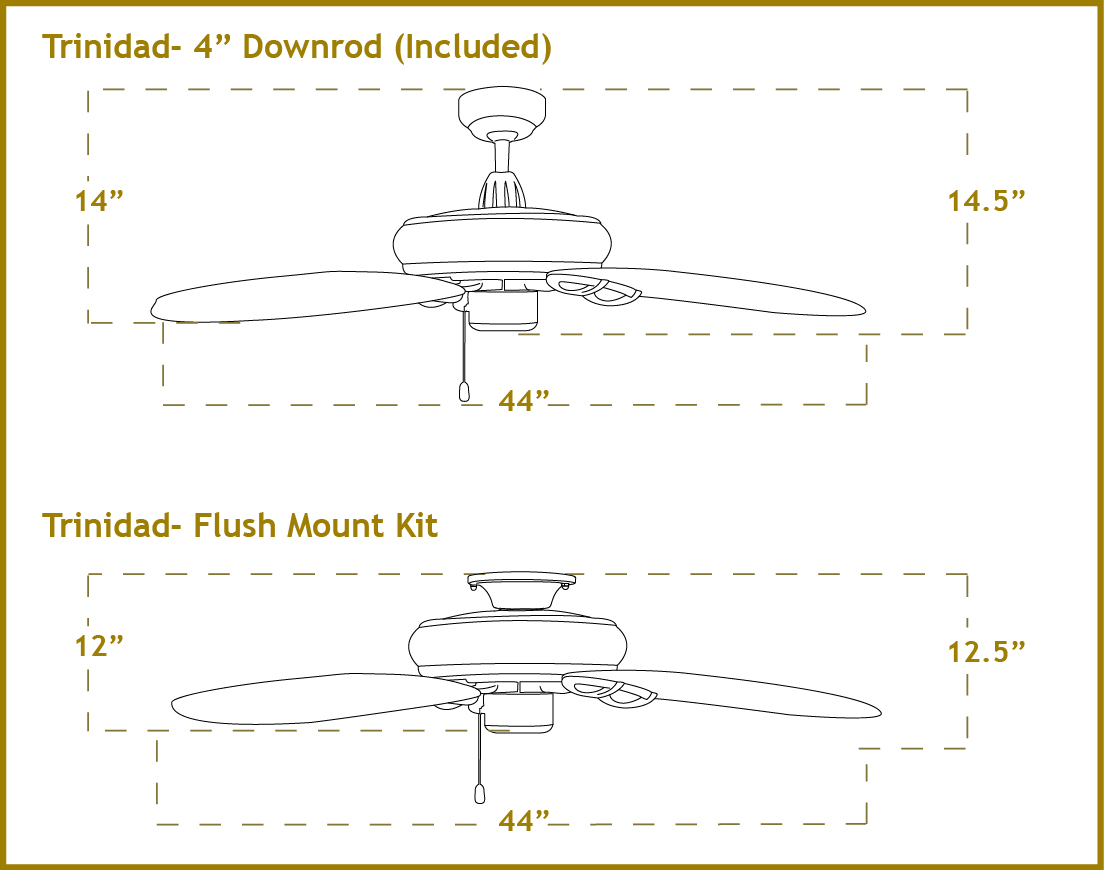 44 Inch Trinidad Small Outdoor Ceiling Fan