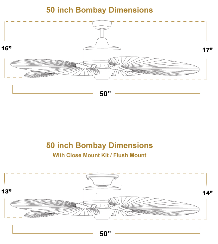 Bombay 52 inch Sweep Tropical Outdoor Ceiling Fan Dimensions