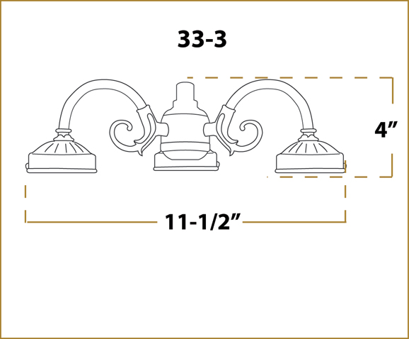 Ceiling Fan Light -  33 Fitter - Dimensions