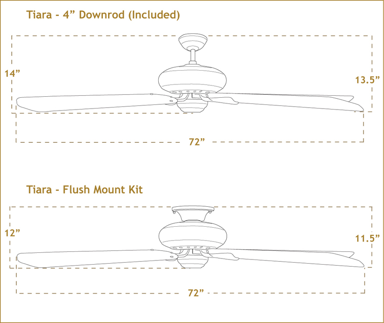 Tiara with 72 inch sweep Blades dimensions