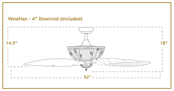 Venetian Ceiling Fan Dimensions