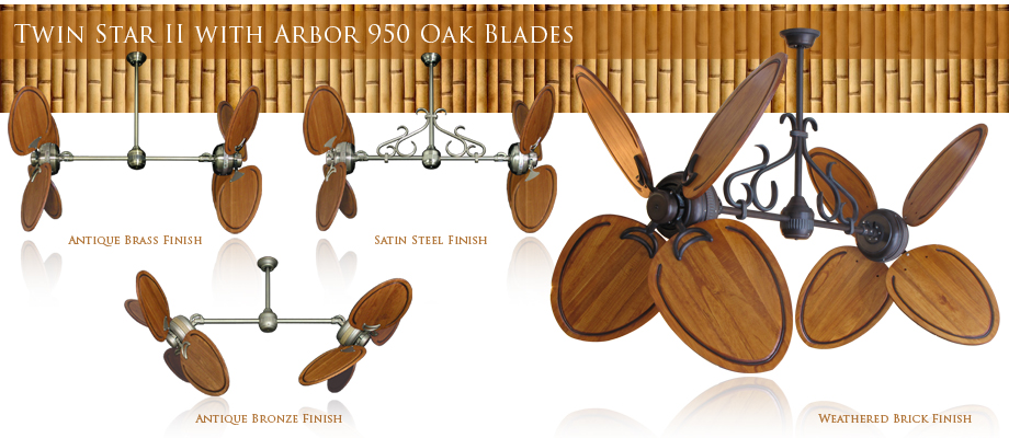 50 inch double twin star ceiling fan with abor 950 dark walnut blades double ceiling fan with solid wood oak blades mozeypictures Choice Image