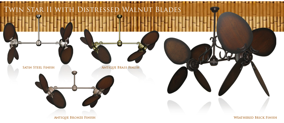 56 inch double twin star tropical ceiling fan with natural palm blades double ceiling fan with 48 inch sweep palm blades aloadofball Choice Image