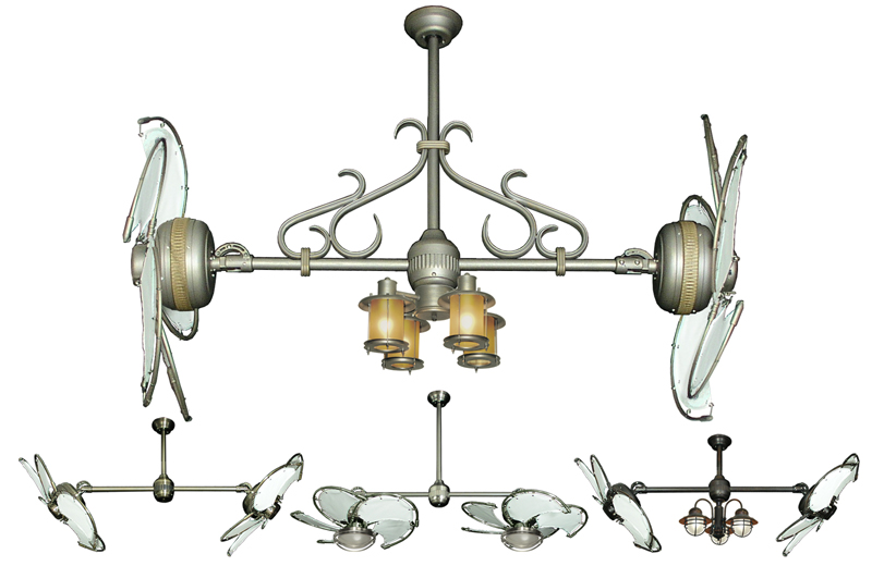 32 Inch Double Twin Star Nautical Ceiling Fan With White