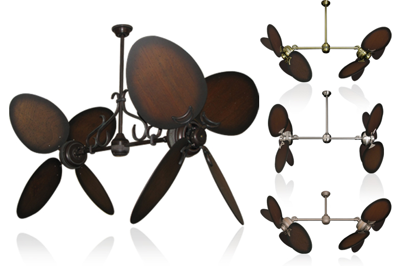 50 Inch Double Twin Star Ceiling Fan With Distressed