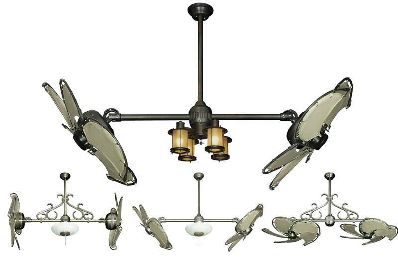 32 Inch Double Twin Star Nautical Ceiling Fan With Khaki