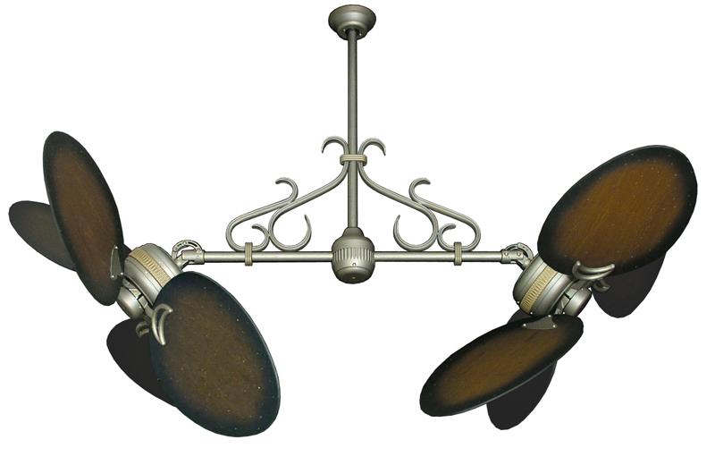 Double Fan Antique Bronze, Scroll, 50 inch Distressed Walnut Blades