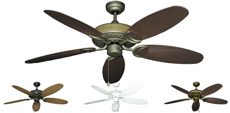 52 Inch Atlantis Outdoor Ceiling Fan With Leaf Or Wicker