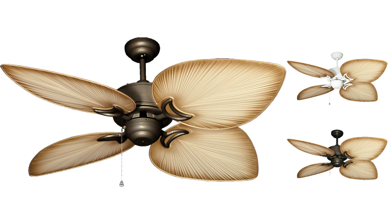 50 Inch Bombay Tropical Outdoor Ceiling Fan With Tan Blades