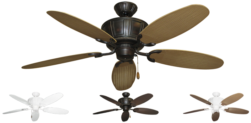 ... 52 inch Centurion Outdoor Tropical Ceiling Fan - Leaf/Wicker Blades