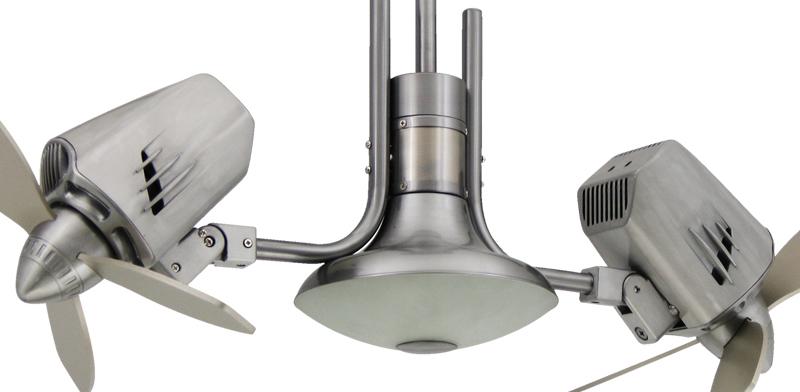 18 inch mustang ii dual motor oscillating brushed aluminum for Dual motor ceiling fan
