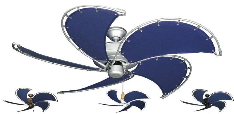 52 Inch Nautical Raindance Ceiling Fan With Blue Canvas Blades