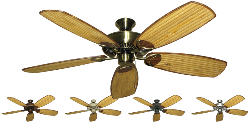 52 Inch Riviera Tropical Ceiling Fan Arbor 275 Bamboo Blades