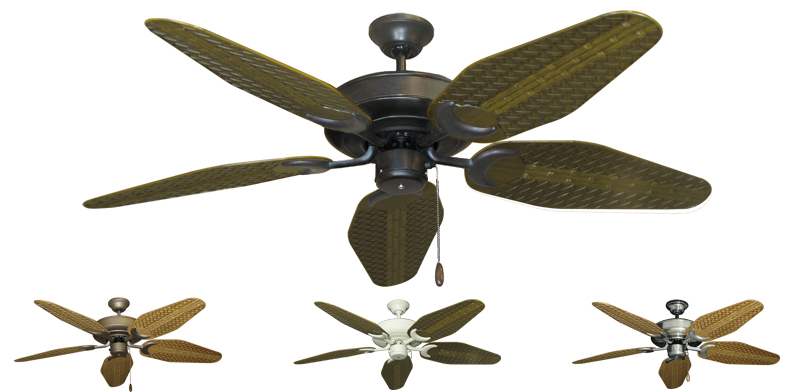 Tropical Ceiling Fans : Inch raindance outdoor tropical ceiling fan with weave