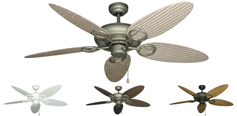 Tropical Ceiling Fans : Inch trinidad outdoor tropical ceiling fan bamboo