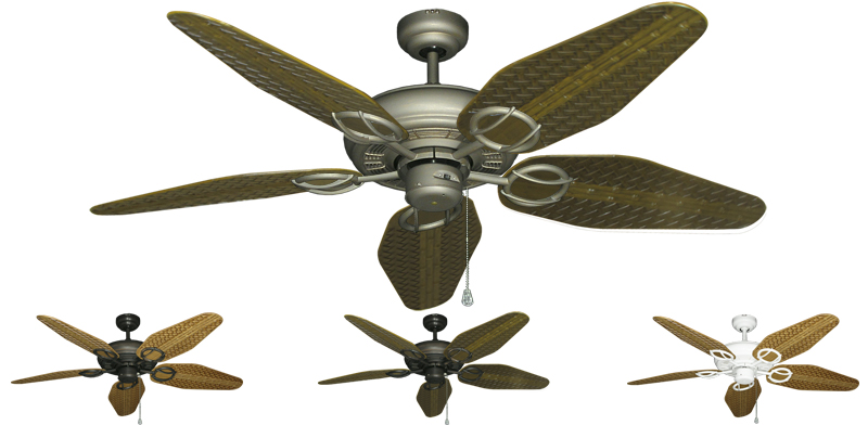 52 Inch Trinidad Outdoor Tropical Ceiling Fan Weave Blades