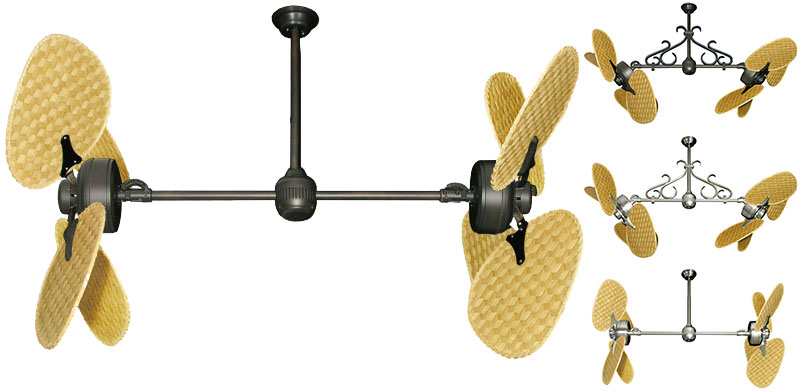 46 Inch Double Twin Star Iii Tropical Ceiling Fan With Natural Woven Bamboo Blades
