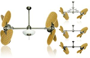 46 Inch Double Twin Star Ceiling Fan With Woven Bamboo