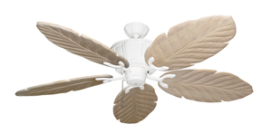 Centurion Pure White Tropical Ceiling Fan with Arbor 100 Whitewash Blades