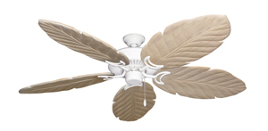 Riviera Pure White Tropical Ceiling Fan with Arbor 100 Whitewash Blades