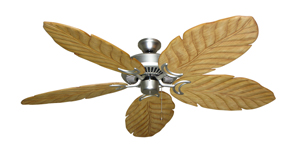 Riviera Satin Steel Tropical Ceiling Fan with Arbor 100 Maple Blades