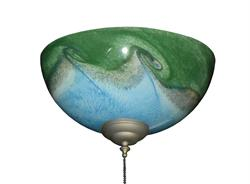 263 Blue Green Wave Bowl Light