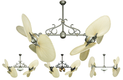 Twin Star II Double Ceiling Fan with 56 inch span natural palm blades