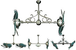 Dual Nautical Ceiling Fan with Green Canvas Blades in 32 inch span