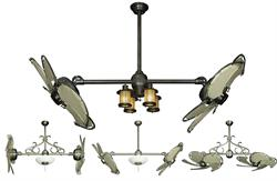 Dual Nautical Ceiling Fan with Khaki Canvas Blades in 32 inch span