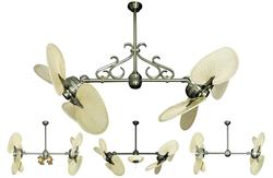 Twin Star II Double Ceiling Fan with 48 inch span natural palm blades