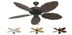 52 inch Raindance Outdoor Tropical Ceiling Fan - Leaf Arbor 125 Carved Wood Blades