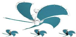 52 inch Raindance Nautical Ceiling Fan - Turquoise Canvas Blades