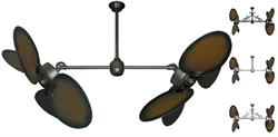 50 inch Twin Star III Double Ceiling Fan - Distressed Walnut Blades