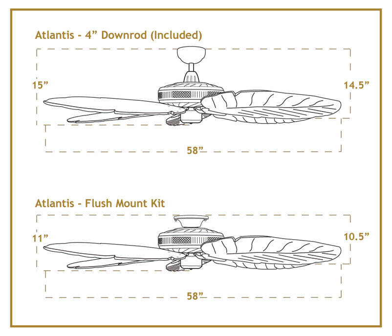 Atlantis Arbor 100 Ceiling Fan Dimensions