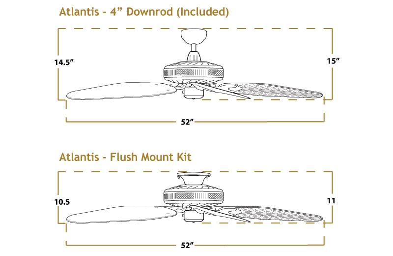 Atlantis Ceiling Fan Dimensions
