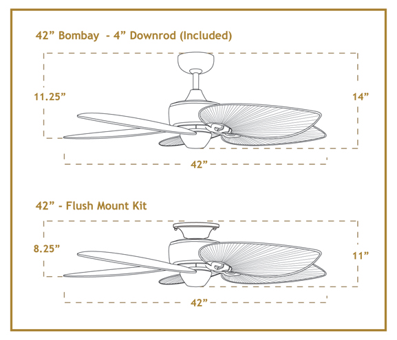 Bombay 42 inch Sweep Tropical Outdoor Ceiling Fan Dimensions