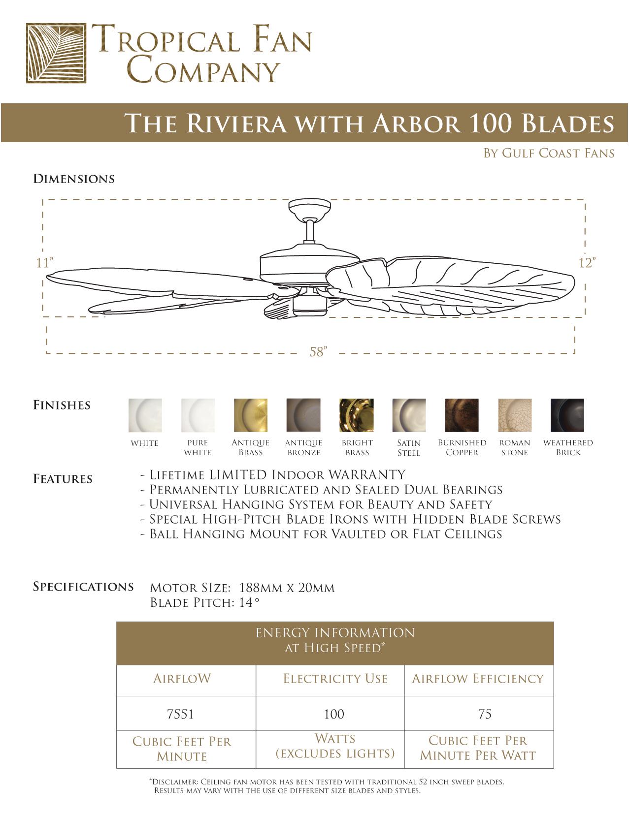 58 inch Riviera Indoor Ceiling Fan Arbor 800 Blades