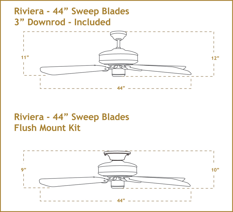 Riviera 44 inch Ceiling Fan Dimensions
