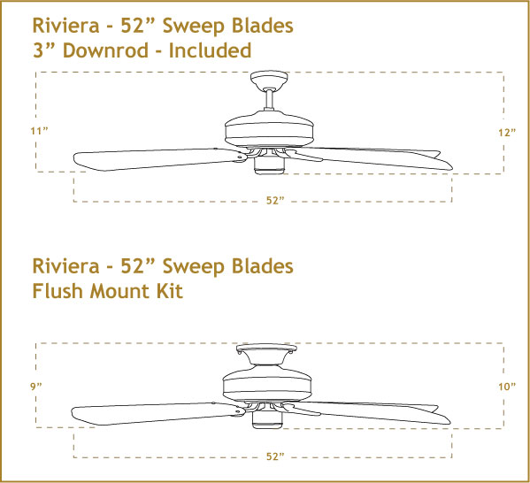 Riviera 52 inch Ceiling Fan Dimensions