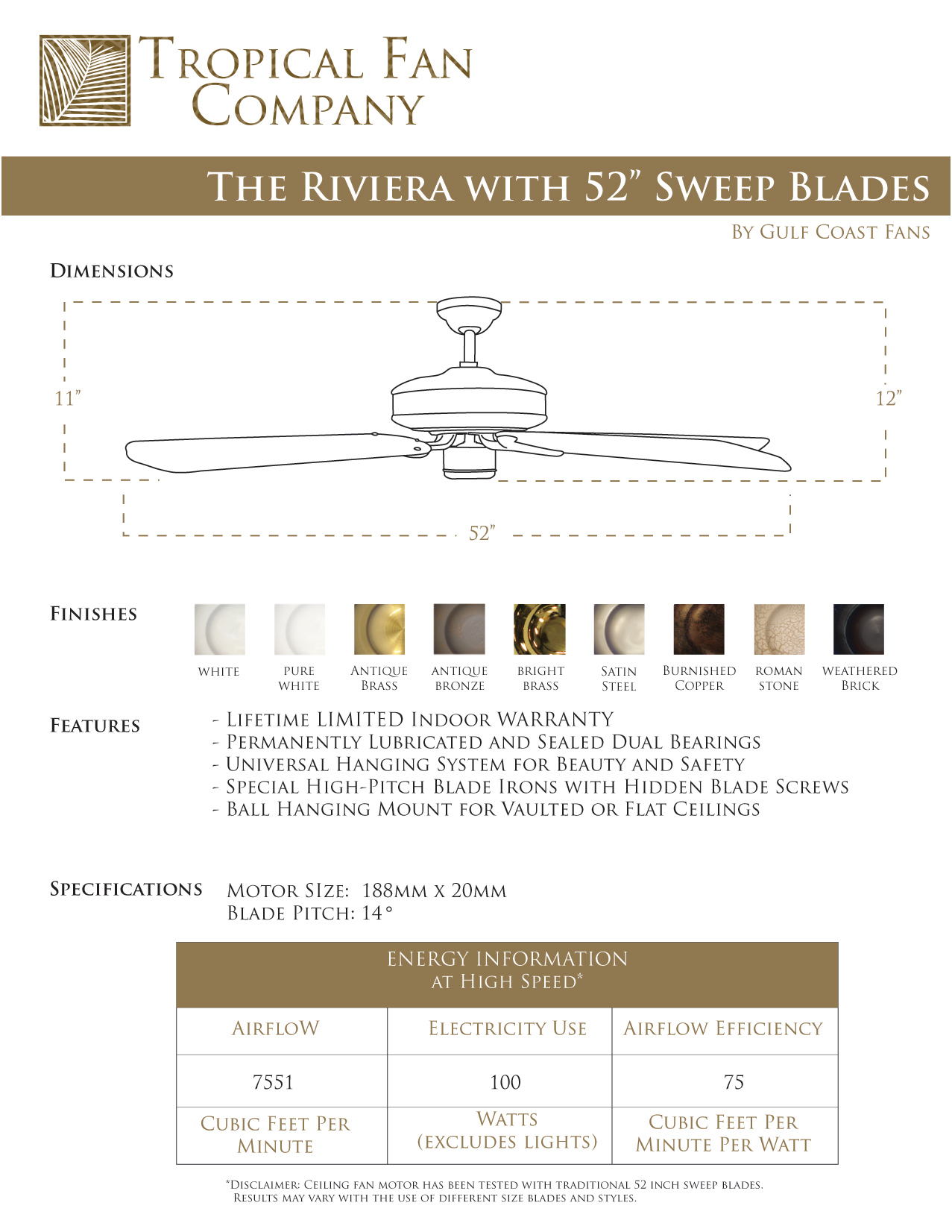 Riviera 52 Inch Sweep Blades Dimensions Specs