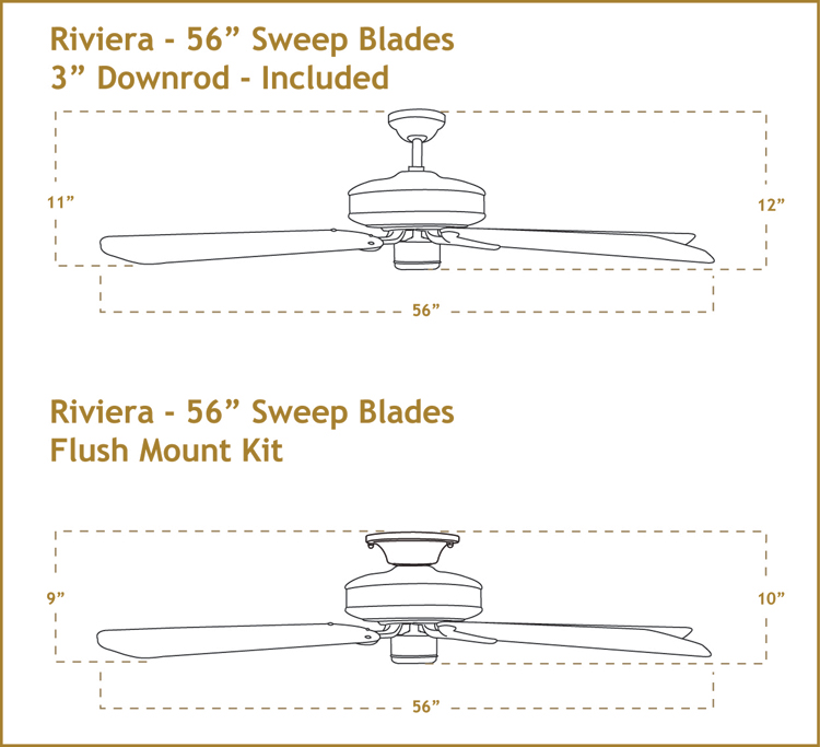 Riviera 56 inch Ceiling Fan Dimensions