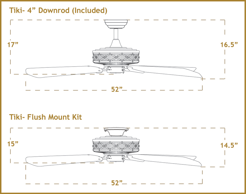 Tiki Arbor 100 Ceiling Fan Dimensions