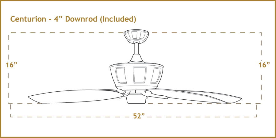 Centurion 52 Ceiling Fan Dimensions