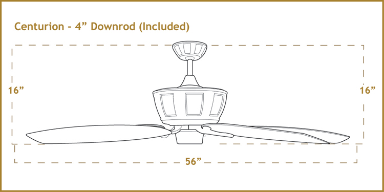 Centurion 56 inch sweep Ceiling Fan Dimensions