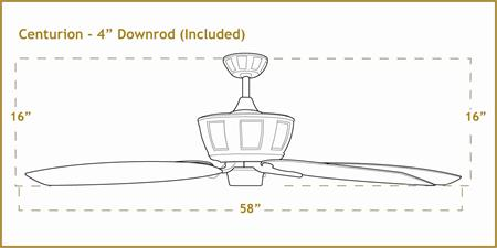 Centurion 58 inch sweep Ceiling Fan Dimensions