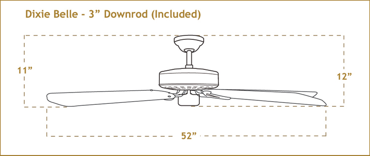 Dixie Belle Ceiling Fan Dimensions
