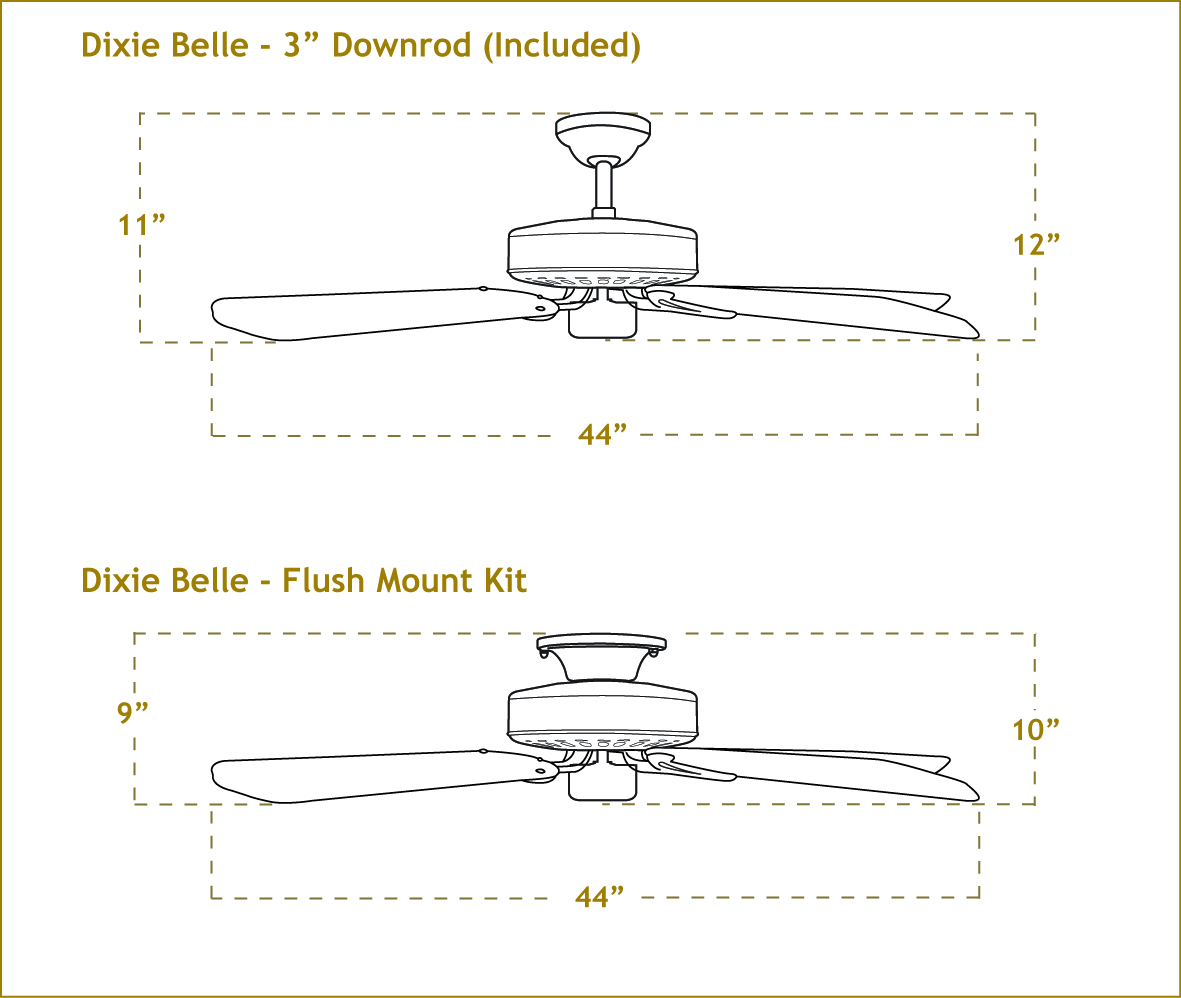 Ceiling fan dimensions pranksenders 44 inch dixie belle small ceiling fan aloadofball Choice Image