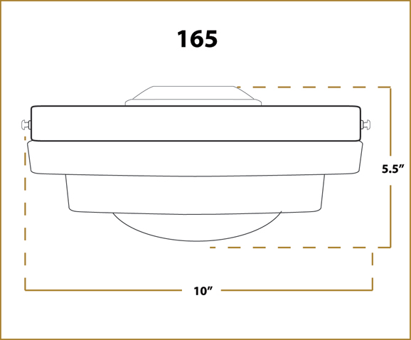 Ceiling Fan Light -  165 - Dimensions