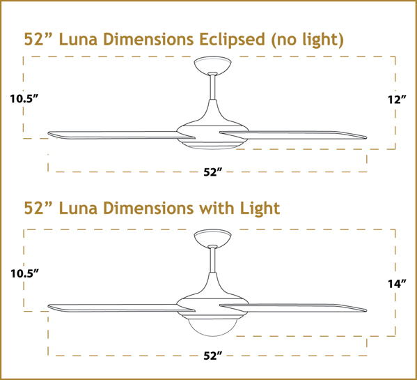 Luna Ceiling Fan Dimensions
