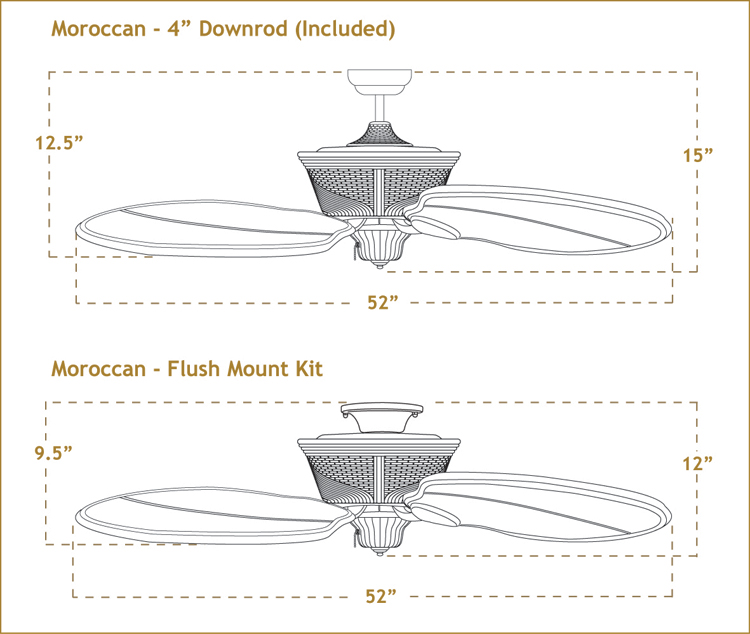 Moroccan Ceiling Fan Dimensions